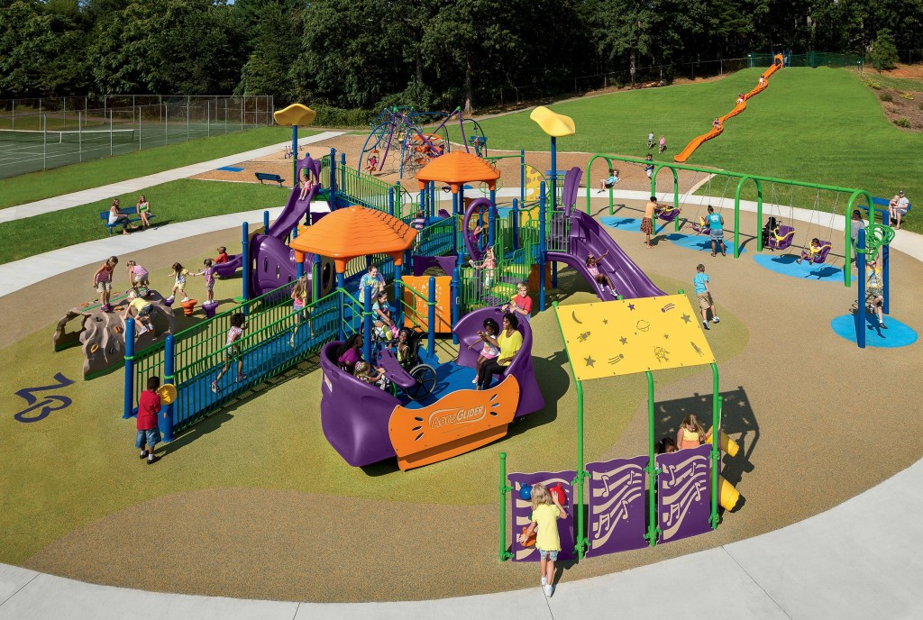 Playworld inclusive playground equipment - Zahra Baker All Children's Playground, Hickory, NC
