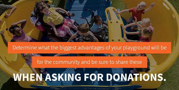 Share playground advantages when requesting donations