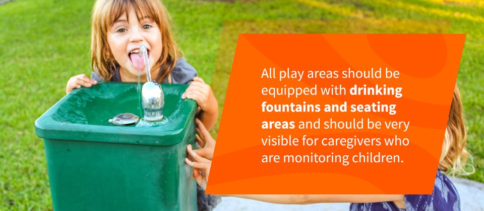 Drinking Fountains And Seating Areas For Playgrounds