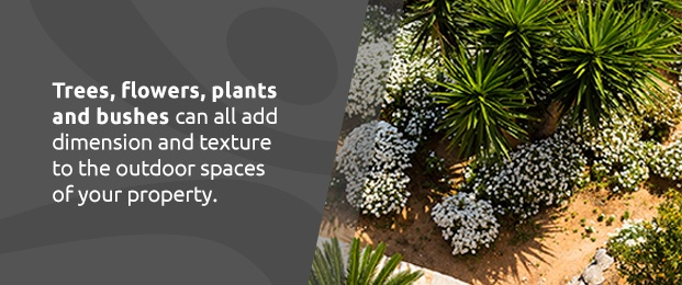 Trees, Flowers, Plants And Bushes Add Texture To Outdoor Spaces