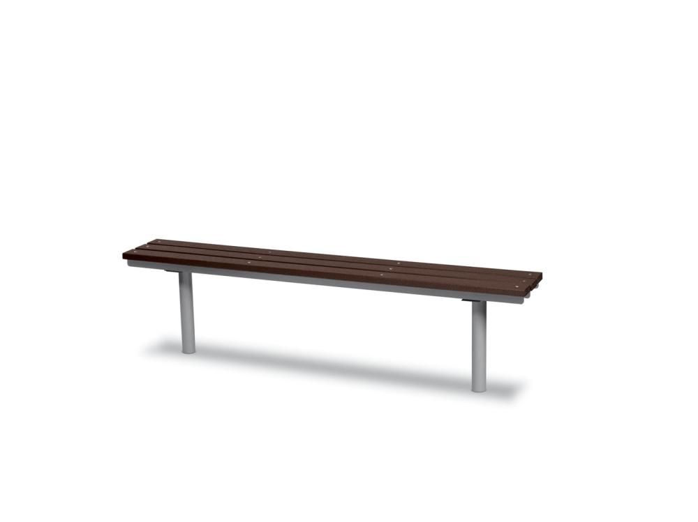 Recycled Plastic Plank Bench without back 6' (1,83m) In-Ground - Benches,Site Furnishings