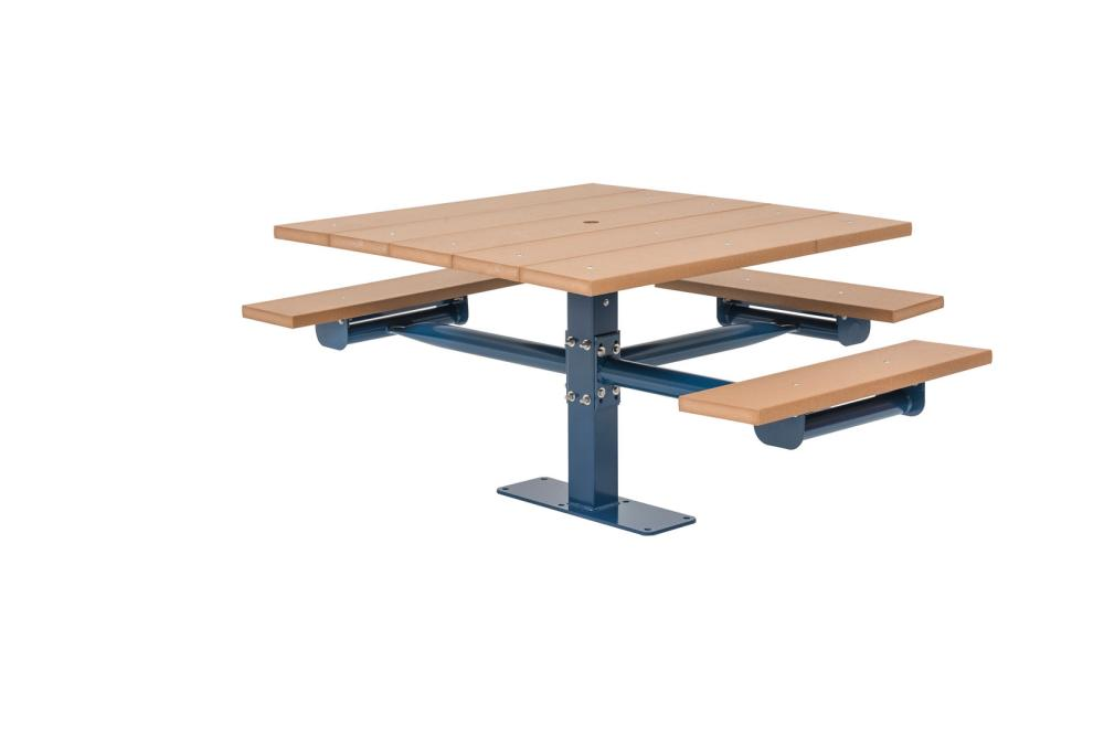 Square Recycled Plastic Table with Three Seats (Surface Mount) - Picnic Tables,Site Furnishings
