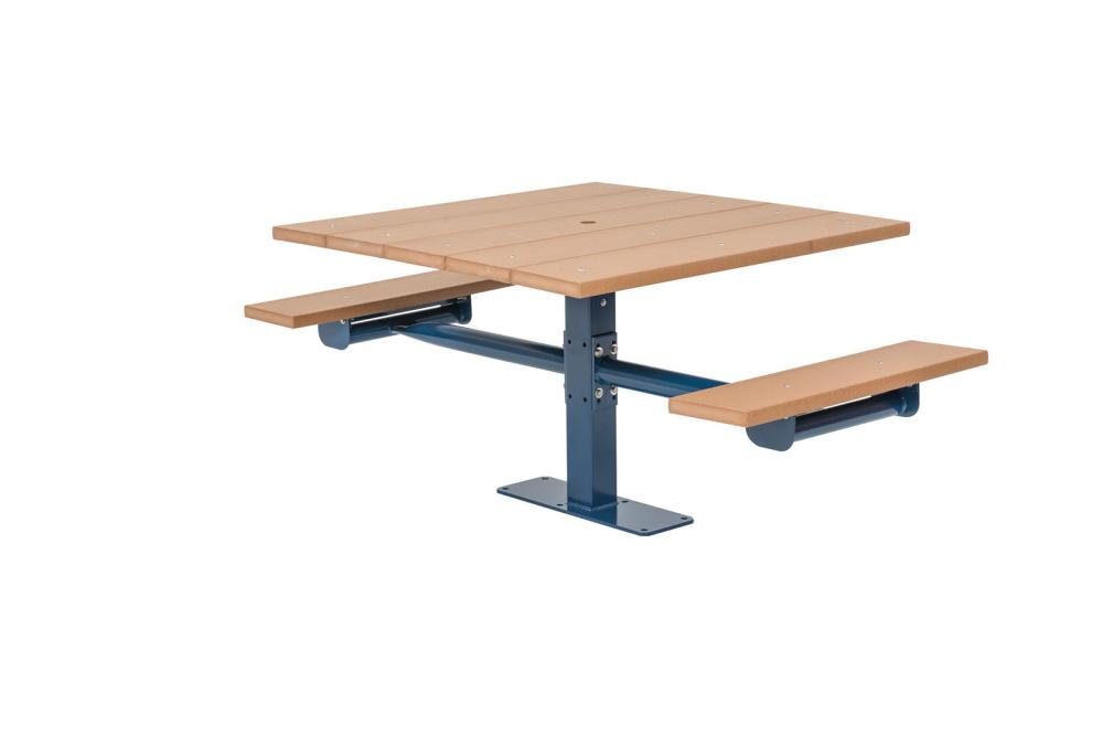 Square Recycled Plastic Table with Two Seats (Surface Mount) - Picnic Tables,Site Furnishings